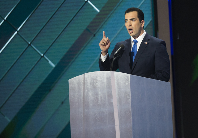 Democratic nominee for the 4th Congressional District Ruben Kihuen addresses the crowd during the final day of the Democratic National Convention at the Wells Fargo Center on Thursday, July 28, 20 ...