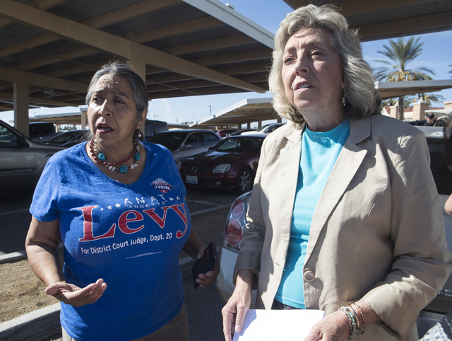 Voter Vicenta Montoya, left, meets with Congresswoman Dina Titus, D-Nev., during an early voting event at the East Las Vegas Community Center in Las Vegas on Saturday, Oct. 22, 2016. Loren Townsle ...