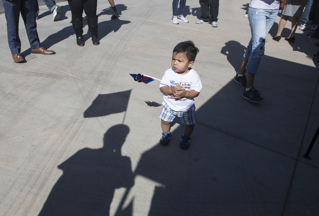 Noah Silza, 1, attends the early voting event at the East Las Vegas Community Center in Las Vegas on Saturday, Oct. 22, 2016. Loren Townsley/Las Vegas Review-Journal Follow @lorentownsley