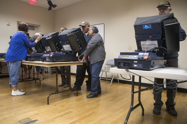 People vote during early voting at the East Las Vegas Community Center in Las Vegas on Saturday, Oct. 22, 2016. Loren Townsley/Las Vegas Review-Journal Follow @lorentownsley
