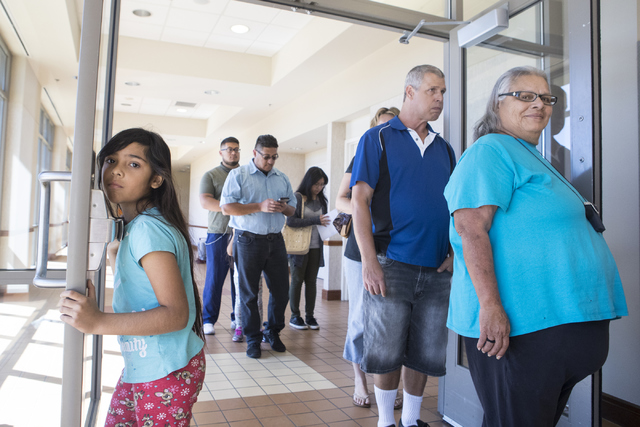 People wait in line during early voting at the East Las Vegas Community Center in Las Vegas on Saturday, Oct. 22, 2016. Loren Townsley/Las Vegas Review-Journal Follow @lorentownsley