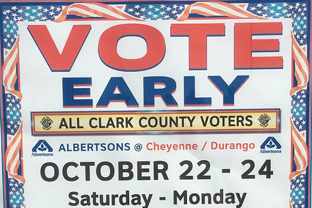 A vote early sign outside a CVS in Las Vegas on Saturday Oct. 22, 2016. (@DavidsonLVRJ/Twitter)