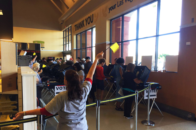 Votes are cast inside the Albertsons at Craig & Tenaya in Las Vegas on Saturday Oct. 22, 2016. (@RavenJackson/Twitter)