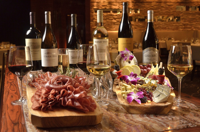 A selection of wines, meats and cheeses at T-bones Chophouse in the Red Rock Resort at 11011 W. Charleston Blvd. in Las Vegas on Thursday, Oct. 20, 2016. Bill Hughes/Las Vegas Review-Journal
