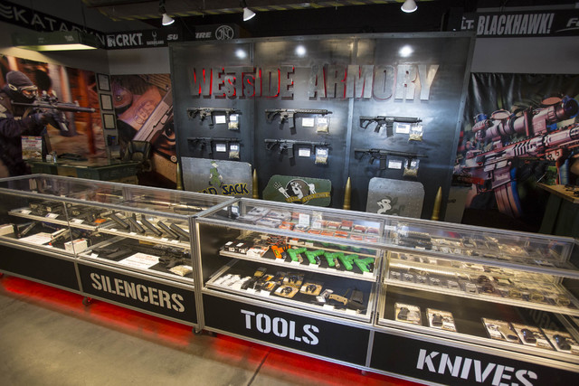A display counter at Westside Armory, a gun and ammo store, located at 7345 S. Durango Drive in Las Vegas on Tuesday, Oct. 18, 2016. Richard Brian/Las Vegas Review-Journal Follow @vegasphotograph