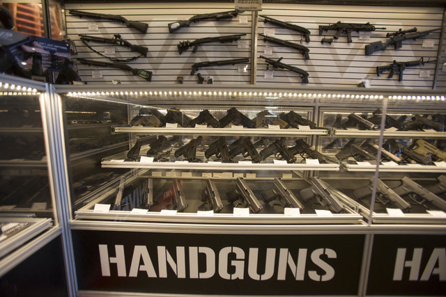 Handguns for sale on display at Westside Armory, a gun and ammo store, located at 7345 S. Durango Drive in Las Vegas on Tuesday, Oct. 18, 2016. (Richard Brian/Las Vegas Review-Journal Follow @vega ...
