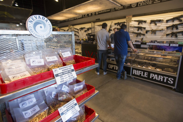 Customers shop the rifle counter at Westside Armory, a gun and ammo store,  located at 7345 S. Durango Drive in Las Vegas on Tuesday, Oct. 18, 2016. Richard Brian/Las Vegas Review-Journal Follow @ ...