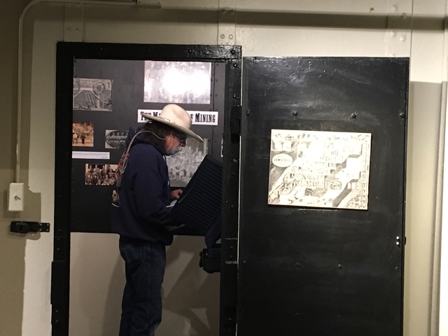 Virginia Highlands resident Larry Walker votes using a machine in a former jail cell at the Storey County Courthouse in Virginia City on Friday, Oct. 28, 2016. Sean Whaley/Las Vegas Review-Journal