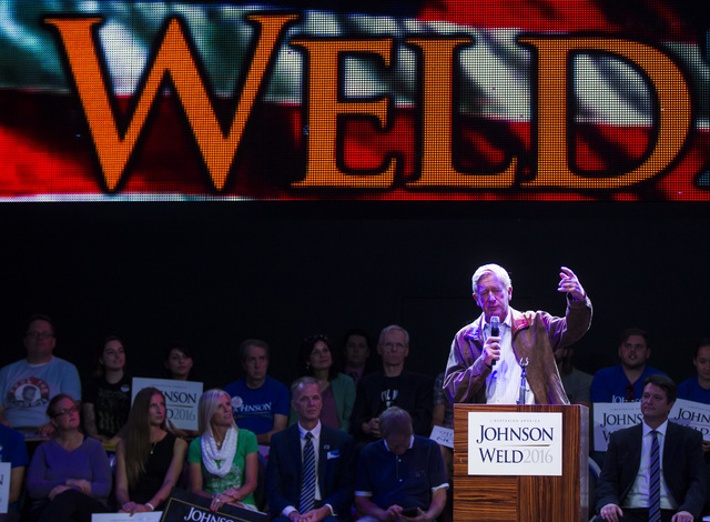 Libertarian vice presidential candidate Bill Weld speaks during a campaign rally at the SLS hotel-casino in Las Vegas on Thursday, Aug. 18, 2016. Chase Stevens/Las Vegas Review-Journal Follow @css ...