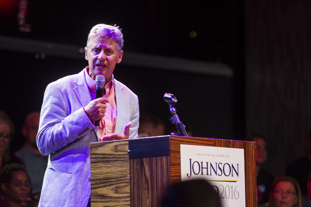 Libertarian presidential candidate Gary Johnson speaks during a campaign rally at the SLS hotel-casino in Las Vegas on Thursday, Aug. 18, 2016. Chase Stevens/Las Vegas Review-Journal Follow @csste ...