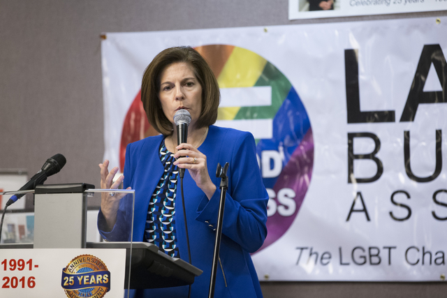 Nevada Democratic U.S. Senate candidate Catherine Cortez Masto speaks during the Lambda Business Association monthly luncheon at the Gay and Lesbian Community Center of Southern Nevada on Tuesday, ...