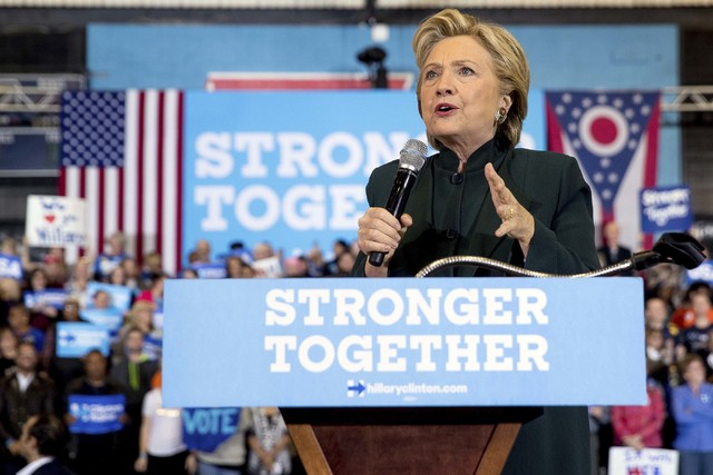 Democratic presidential candidate Hillary Clinton speaks at a rally at Cuyahoga Community College in Cleveland, Friday, Oct. 21, 2016. (Andrew Harnik/AP)