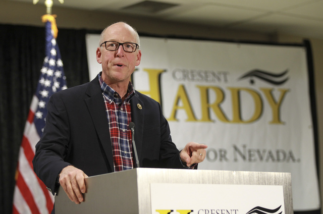 U.S. Rep. Greg Walden, R-Ore., speaks at a rally in support of U.S. Rep. Cresent Hardy, R-Nev., at Pearson Community Center in North Las Vegas on Saturday, Oct. 29, 2016. Chase Stevens/Las Vegas R ...