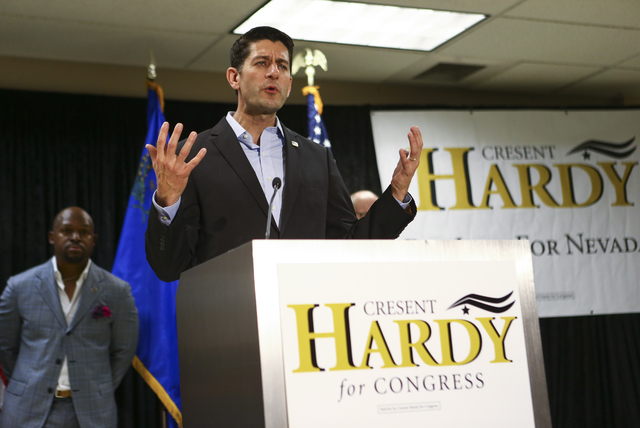 Speaker of the House Paul Ryan, R-Wis., speaks during a rally in support of U.S. Rep. Cresent Hardy, R-Nev., at Pearson Community Center in North Las Vegas on Saturday, Oct. 29, 2016. Chase Steven ...