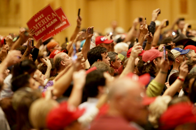 The crowd at a Donald Trump rally on Sunday, Oct. 30, 2016 at the Venetian in Las Vegas. Rachel Aston/Las Vegas Review Journal Follow @rookie__rae