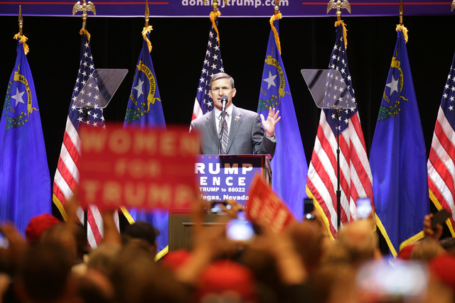 Retired United States Army Lieutenant General Mike Flynn addresses the crowd at a Trump rally on Sunday, Oct. 30, 2016, at the Venetian in Las Vegas. Rachel Aston/Las Vegas Review Journal Follow @ ...