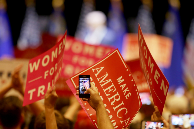 The crowd waves signs at a Trump rally on Sunday, Oct. 30, 2016, at the Venetian in Las Vegas. Rachel Aston/Las Vegas Review Journal Follow @rookie__rae