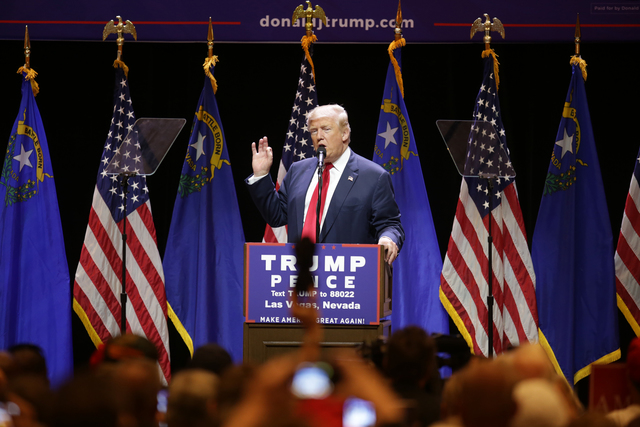Republican presidential candidate Donald Trump addresses the crowd at a rally on Sunday, Oct. 30, 2016, at the Venetian in Las Vegas. Rachel Aston/Las Vegas Review Journal Follow @rookie__rae