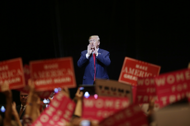 Republican presidential candidate Donald Trump leaves the stage at a rally on Sunday, Oct. 30, 2016, at the Venetian in Las Vegas. Rachel Aston/Las Vegas Review Journal Follow @rookie__rae