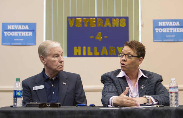 State Sen. David Parks listens to Sen. Pat Spearman during a roundtable discussion of national security at the Silver Mesa Recreation Center in North Las Vegas on Wednesday, Sept. 7, 2016. (Richar ...