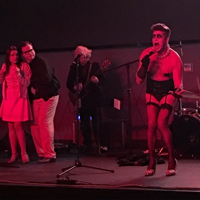 "Enoch Augustus Scott, as Frank N Furter, cuts loose during ""The Rocky Horror Picture Show,"" part of House Seats' ""Setlist"" series, at Top Golf on Thursday night. (John Katsilometes photo)"