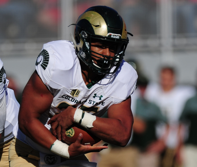 Colorado State Rams running back Izzy Matthews (35) scores a touchdown against UNLV in the first half of their NCCA college football game at Sam Boyd Stadium Saturday, Oct. 22, 2016. Josh Holmberg ...