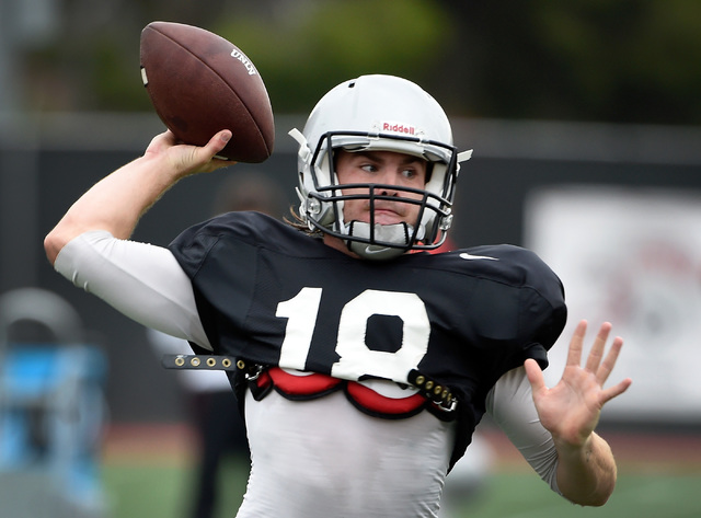 UNLV quarterback Dalton Sneed readies to pass during morning practice at UNLV Tuesday, Oct. 25, 2016, in Las Vegas. (David Becker/Las Vegas Review-Journal) Follow @davidjaybecker