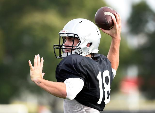 UNLV quarterback Dalton Sneed looks to pass during morning practice at UNLV Tuesday, Oct. 25, 2016, in Las Vegas. (David Becker/Las Vegas Review-Journal) Follow @davidjaybecker