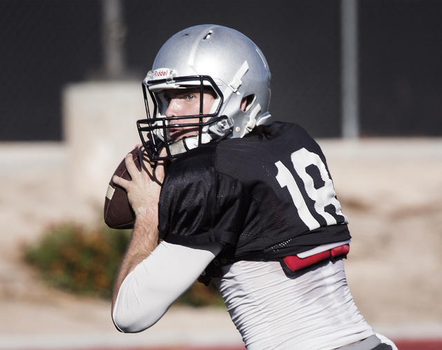 UNLV starting quarterback Dalton Sneed passes the football during practice on Tuesday, Oct. 4, 2016. (Jeff Scheid/Las Vegas Review-Journal) Follow @jeffscheid