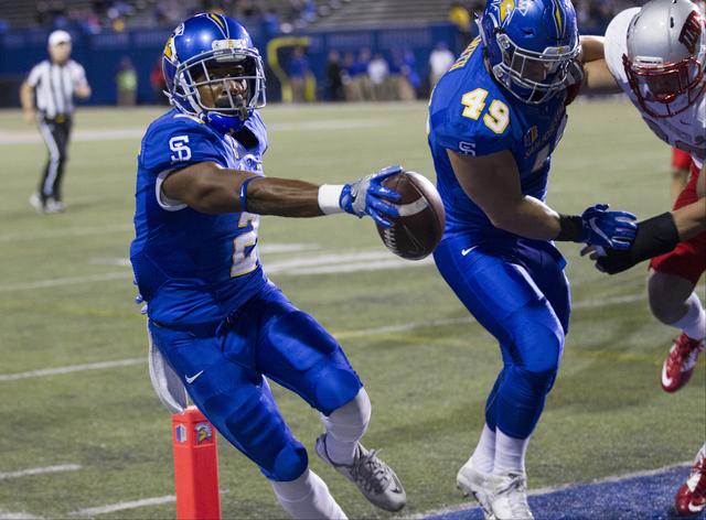 San Jose State Spartans wide receiver Tim Crawley (2) scores a touchdown against the UNLV Rebels in their football game at CEFCU Stadium on Saturday, Oct. 29, 2016, in San Jose. Erik Verduzco/Las  ...