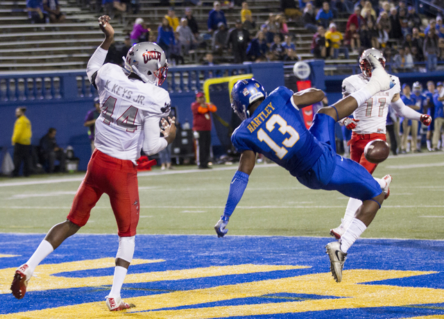 San Jose State Spartans wide receiver Tre Hartley (13) drops a pass against the UNLV Rebels in their football game at CEFCU Stadium on Saturday, Oct. 29, 2016, in San Jose. Erik Verduzco/Las Vegas ...