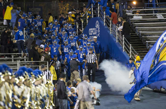 The San Jose State Spartans take the field for their football game against the UNLV Rebels at CEFCU Stadium on Saturday, Oct. 29, 2016, in San Jose. Erik Verduzco/Las Vegas Review-Journal Follow @ ...