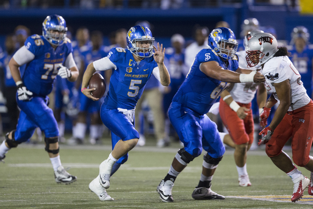 San Jose State Spartans quarterback Kenny Potter (5) runs the ball against the UNLV Rebels in their football game at CEFCU Stadium on Saturday, Oct. 29, 2016, in San Jose. Erik Verduzco/Las Vegas  ...