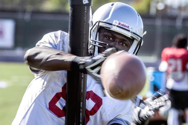 UNLV wide receiver Devonte Boyd during a football drill on Tuesday, Oct. 4, 201d. (Jeff Scheid/Las Vegas Review-Journal) Follow @jeffscheid