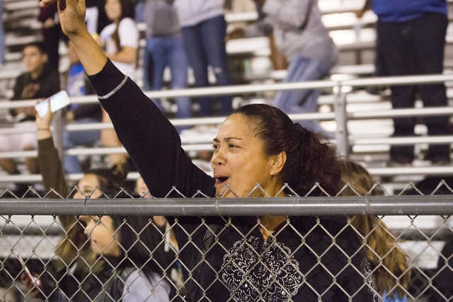 Sierra Vista fans celebrate after the Mountain Lions defeated Durango to go to 8-0 on the season on Friday, Oct. 21, 2016, at Durango High School, in Las Vegas. Benjamin Hager/Las Vegas Review-Journal