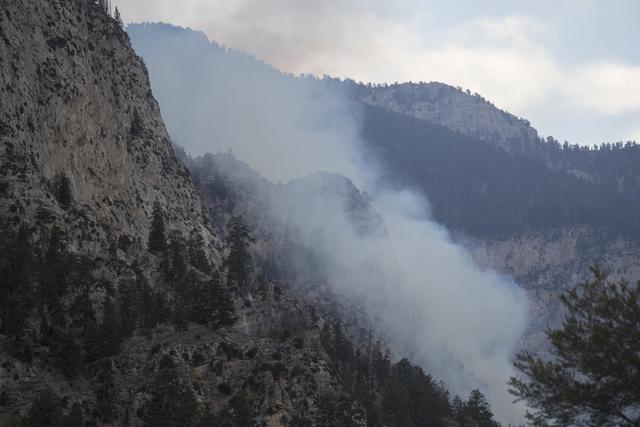 A fire burns near Mary Jane Falls in Mount Charleston on Friday, Oct. 14, 2016, in Las Vegas.  (Loren Townsley/Las Vegas Review-Journal) Follow @lorentownsley
