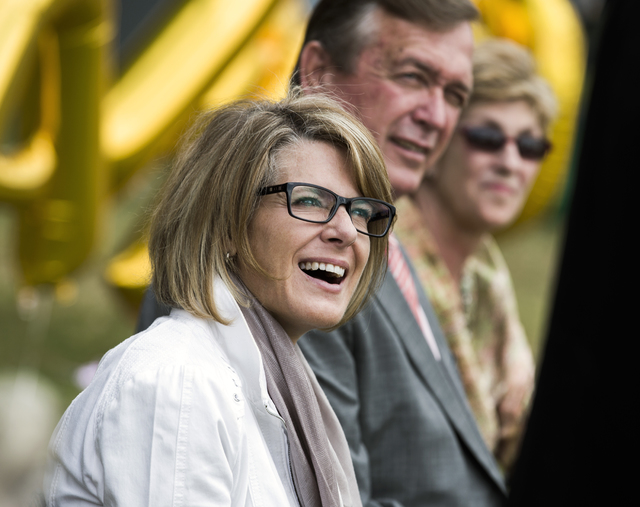 Tina Quigley, left, general manager of the Regional Transportation Commission of Southern Nevada, Rep. Cresent Hardy, R-Nev., and Clark County Commissioner Giunchigliani during a news conference.  ...