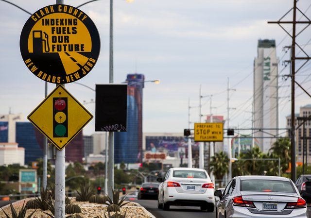 Vehicles travel eastbound on Flamingo Road near Decatur Boulevard on Friday, Oct. 28, 2016. The Regional Transportation Commission announced the completion of the $46.4 million overhaul of Flaming ...