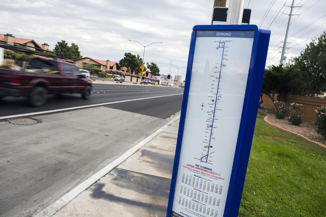 A vehicle passes a bus stop on Flamingo Road near Decatur Boulevard on Friday, Oct. 28, 2016. The RTC announcing the completion of the $46.4 million overhaul of Flamingo Road. (Jeff Scheid/Las Veg ...