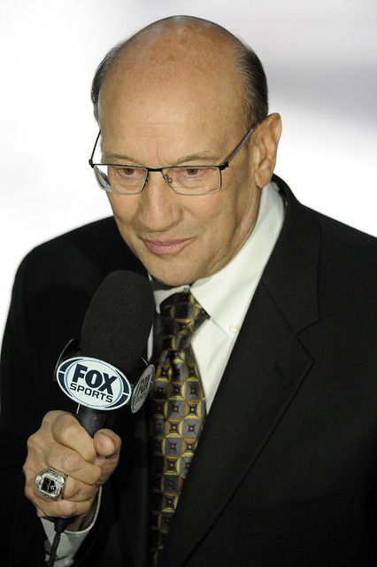 Los Angeles Kings announcer Bob Miller calls the action during a game between the New York Rangers at MGM Grand Garden Arena in Las Vegas September 27, 2013.(Josh Holmberg/Las Vegas Review-Journal)