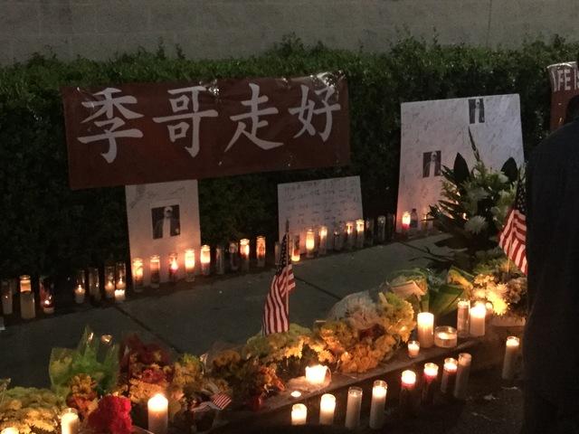 A candlelight vigil for Fuli Ji, 52, of Chino Hills, California, was held near the Caesars Palace employee parking garage in Las Vegas on Tuesday, Oct. 25, 2016. (Raven Jackson/Las Vegas Review-Jo ...