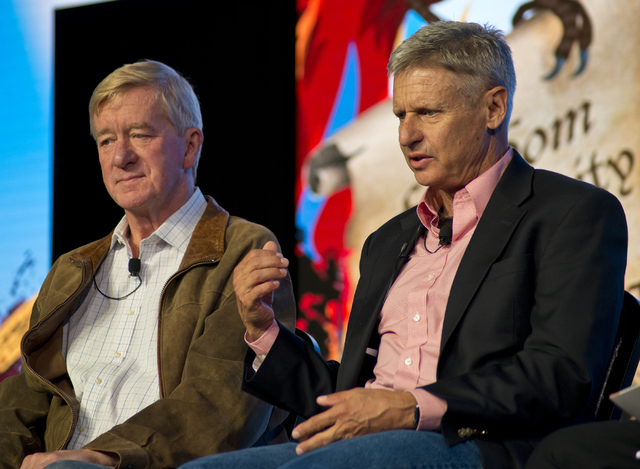 Libertarian presidential hopeful Gary Johnson, right, and running mate Bill Weld speak during Freedom Fest at Planet Hollywood hotel-casino in Las Vegas on Friday, July 15, 2016. Daniel Clark/Las  ...