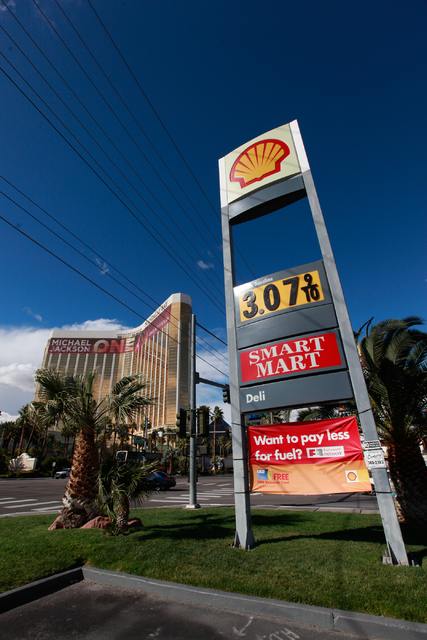 A sign for gasoline prices is displayed at Shell on Las Vegas Boulevard near the Mandalay Bay hotel-casino on Monday, March 2, 2015. (Chase Stevens/Las Vegas Review-Journal)