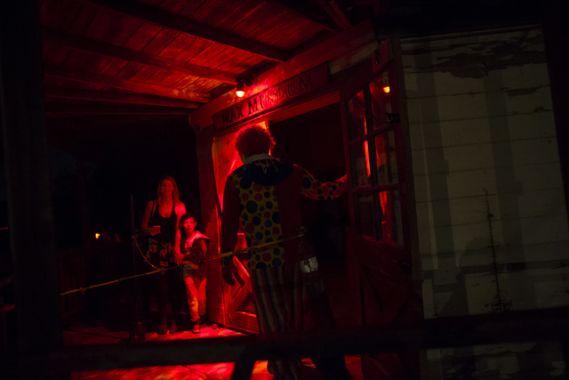 """People enter an attraction during """"Bonnie Screams"""" at Bonnie Springs Ranch outside of Las Vegas on Tuesday, Oct. 25, 2016. (Chase Stevens/Las Vegas Review-Journal Follow @csstevensphoto)"""