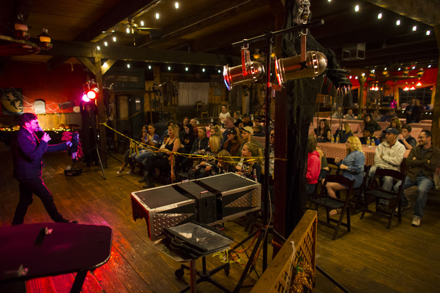 """Magician Dixie Dooley performs during """"Bonnie Screams"""" at Bonnie Springs Ranch outside of Las Vegas on Tuesday, Oct. 25, 2016. (Chase Stevens/Las Vegas Review-Journal Follow @csstevensphoto)"""