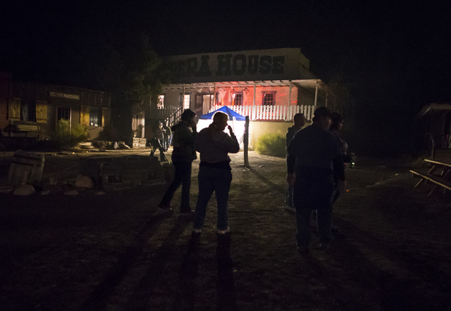 """Visitors stand outside of the opera house during """"Bonnie Screams"""" at Bonnie Springs Ranch outside of Las Vegas on Tuesday, Oct. 25, 2016. (Chase Stevens/Las Vegas Review-Journal Follow @csstevensp ..."""