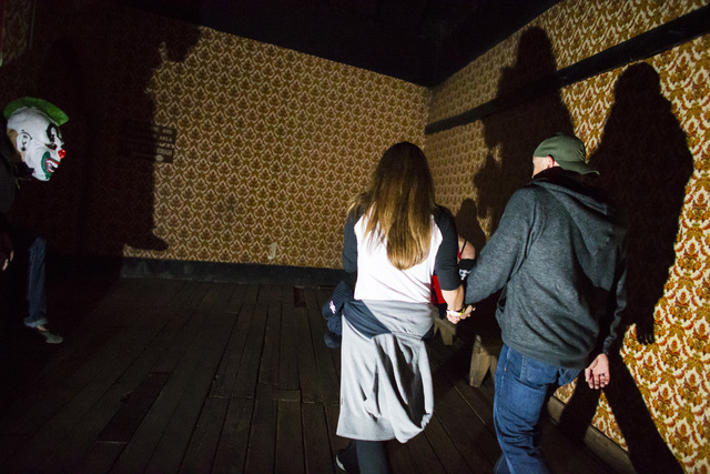 """Visitors walk through an attraction during """"Bonnie Screams"""" at Bonnie Springs Ranch outside of Las Vegas on Tuesday, Oct. 25, 2016. (Chase Stevens/Las Vegas Review-Journal Follow @csstevensphoto)"""