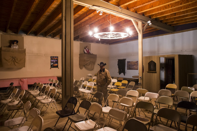 """Joe Tasso stands in the opera house during """"Bonnie Screams"""" at Bonnie Springs Ranch outside of Las Vegas on Tuesday, Oct. 25, 2016. (Chase Stevens/Las Vegas Review-Journal Follow @csstevensphoto)"""