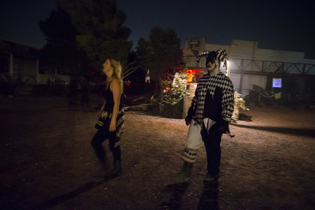 """A costumed actor follows around a visitor during """"Bonnie Screams"""" at Bonnie Springs Ranch outside of Las Vegas on Tuesday, Oct. 25, 2016. (Chase Stevens/Las Vegas Review-Journal Follow @csstevensp ..."""