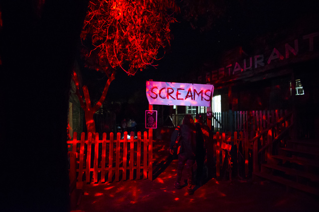 """Visitors enter an attraction during """"Bonnie Screams"""" at Bonnie Springs Ranch outside of Las Vegas on Tuesday, Oct. 25, 2016. (Chase Stevens/Las Vegas Review-Journal Follow @csstevensphoto)"""
